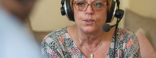 Petra Gerbert während der Aufnahme Foto: Walter Wetzler